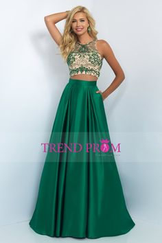 2016 Two Pieces A Line Scoop Beaded Bodice Prom Dresses Satin