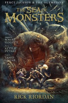 The Sea of Monsters: The Graphic Novel (Percy Jackson and the Olympians, Book 2) by Rick Riordan,http://www.amazon.com/dp/1423145291/ref=cm_sw_r_pi_dp_-hd9sb1RDMVDNBQZ