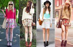Moda europeia - bota com saia e moletom