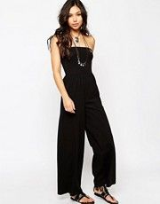 ASOS Bandeau Jersey Jumpsuit with Wide Leg