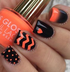 Orange and black combinations for your winter nail art. Combine cute designs like polka dots, zigzags, hearts and gradient techniques to make your nail art stand out.