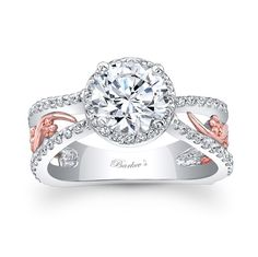 This bold two tone split shank halo engagement ring features a prong set round diamond center. The center halo and shoulder ridges are graced with shared prong set diamond, while a rose gold filigree adorns the center sides for a touch of drama. Two Tone Engagement Rings, Engagement Ring Buying Guide, Gemstone Engagement Rings, Rose Gold Engagement Ring, Halo Engagement, Gold Wedding Rings, Wedding Ring Bands, Bridal Rings, Bridal Jewelry