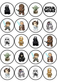 Wafers decorated Star Wars drawings for a snack or super birthday party . Star Wars Baby, Star Wars Kids, Star Wars Fan Art, Star Wars Weihnachten, Decoracion Star Wars, Star Wars Zeichnungen, Aniversario Star Wars, Star Wars Stickers, Star Wars Drawings
