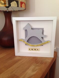 Baby boy rocking horse scrabble frame.