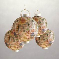 Indonesian Fruit Floral Battery-Operated Lanterns, Pack of 4 | World Market