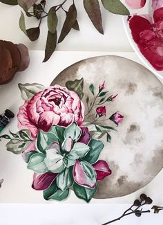 Succulents. Watercolor. A moon. Everything a painting should have.