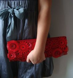 Red Leather Clutch from LemkaB on Etsy. $118