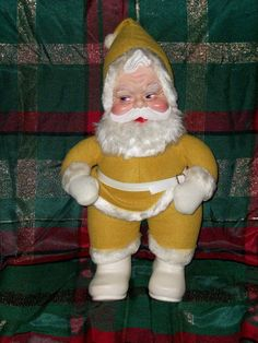Vintage YELLOW Santa Rushton Doll 1950's-1960's Era Super Rare Retro Decoration