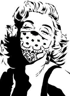 "[F][O] ""Marilyn Monroe wearing a bandana"" - Marilyn Monroe, bandana, human face, woman, single layer, black and white - Imgur"
