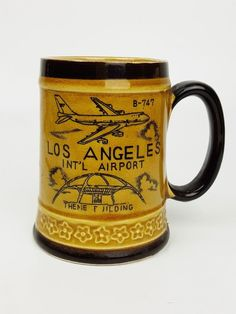 Vintage 1960s Los Angeles International Airport LAX collectible coffee mug