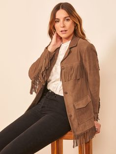 It's jacket season. This is a heavyweight suede jacket with fringe detail, front pockets, and a notched lapel. The Veda Fringe Suede pairs well with the Juliet High Straight Relaxed Jean. Louis Vuitton Jeans, Best Leather Jackets, Southern Women, Fringe Jacket, Sweater Set, Shearling Coat, Suede Jacket, Two Piece Outfit, Denim Outfit