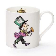 Mrs Moore Vintage Store Mad Hatter Alice In Wonderland Mug: This fine bone china mug is decorated with an iconic Alice in Wonderland design.  Each mug has a design on the front and quote on the reverse.