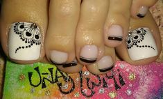 Uñas Cute Pedicure Designs, Toe Nail Designs, Nail Polish Designs, Pretty Toe Nails, Cute Toe Nails, Toe Nail Art, Cute Pedicures, Manicure And Pedicure, Hair And Nails