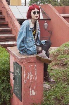 Red hair, jean jacket