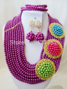 Find More Jewelry Sets Information about New Arrived! PurpleTurquoise 3 Brooches Costume Necklaces Nigerian Wedding African Beads Jewelry Set TC113,High Quality Jewelry Sets from Alisa's Jewelry DIY Store on Aliexpress.com Diy Store, Costume Necklaces, African Beads, Turquoise Beads, Brooches, Jewelry Sets, Crochet Necklace, Wedding, Fashion