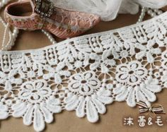 White Cotton Lace Trim Bridal Victoria Lace Fabric Supplies Vintage Embroidery Lace Supplies