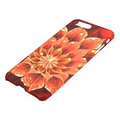 #Ablaze in a Hot Ruby Red Dahlia Fractal Flower iPhone 8 Plus/7 Plus Case - #flower gifts floral flowers diy