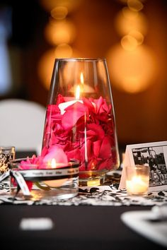 Centerpiece with rose petals and candle