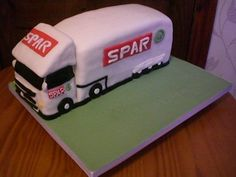 Spar HGV lorry cake Car Cakes, Novelty Cakes, Birthday Cakes, Cake Ideas, Vehicle, Trucks, Cars, Pastries, Anniversary Cakes