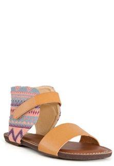 Bumper Footwear Odelia Tribal Print Ankle Cuff Sandals in Tan ODELIA-03-TAN
