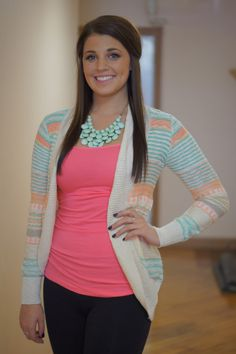 Peach/Mint Open Cardi Open face cardigan with peach and mint stripes. Blue Layne Boutique