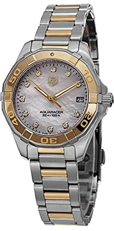 Women's Wrist Watches - TAG Heuer Womens WAY1351BD0917 Aquaracer Analog Display Quartz Two Tone Watch * Visit the image link more details. (This is an Amazon affiliate link)