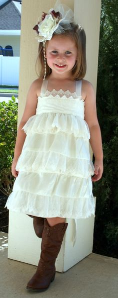 Love this--minus the hair piece--Vintage ruffle lace dress matching vintage flower by PalestPink, $85.00
