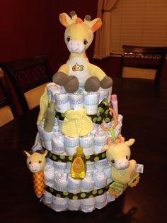 Giraffe Theme Diaper Cake!