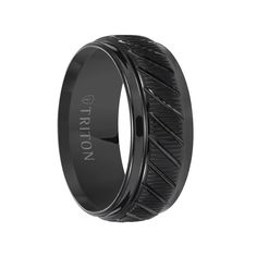 Triton Rings - LAMONT Coin Edge Textured Black Tungsten Carbide Wedding Band with Beveled Step Edges and Diagonal Grooves - 9 mm