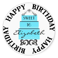Sweet 16-Blue Cake Sticker