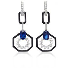 Oui Earring With Blue Sapphire And Baguette White Diamonds | Moda... ($58,055) ❤ liked on Polyvore featuring jewelry, earrings, baguette earrings, white diamond earrings, blue sapphire earrings, baguette jewelry and earring jewelry