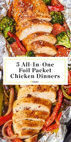 5 Foil Packet Chicken Dinner Recipes For the Grill or Oven Foil Packet Dinners, Foil Pack Meals, Foil Dinners, Foil Packet Recipes, Weeknight Dinners, Grilling Recipes, Cooking Recipes, Healthy Recipes, Recipes For The Grill