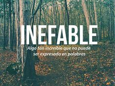 Inefable: algo tan increíble que no puede ser expresado en palabras. Ineffable: something so incredible that it can not be expressed in words. The Words, Weird Words, More Than Words, Cool Words, Strange Words, Spanish Words, Spanish Quotes, Pretty Words, Beautiful Words
