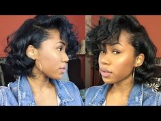 Flexi Rods on Relaxed Bob (Short Hair/Blunt Cut Friendly) Tapered Natural Hair, Natural Hair Updo, Natural Hair Styles, Short Permed Hair, How To Curl Short Hair, Short Curls, Short Relaxed Hairstyles, Short Bob Hairstyles, Toddler Hairstyles