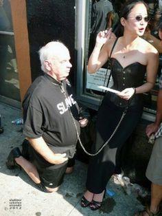 Oh, I've got ma old man leashed! - SF, CA, Female Supremacy, Alpha Female, Submissive, Punk, Couples, People, Public, Fashion, Dominatrix