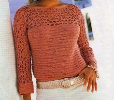 TUTORIAL italiano - Maglioncino maglia e uncinetto color legno di rosa Tops A Crochet, Crochet Fall, Crochet Girls, Love Crochet, Knit Crochet, Knitting Patterns, Crochet Patterns, Pullover, Crochet Clothes
