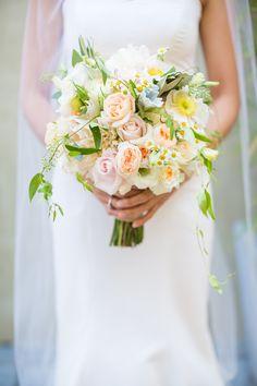 Heidi's bouquet - roses, garden roses, lisianthus, dusty miller, fever few, eucalyptus leaves, and olive leaves