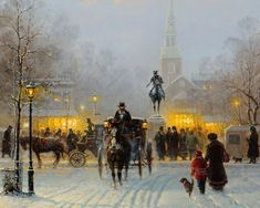 Gerald Harvey Jones, better known as G. Harvey, was born in San Antonio, Texas in Classic Paintings, Great Paintings, Beautiful Paintings, Landscape Pictures, Landscape Art, G Harvey, Kinkade Paintings, Victorian Paintings, Cityscape Art