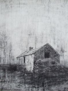 "Michael Wann ""Gathering cloud"", charcoal and pastel wash on canvas, 40x40cm,"