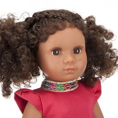 Mixed Race/Biracial/Light Brown Doll with Brown Curly Hair and Freckles Brown Curly Hair, White Underwear, Mixed Race, Handmade Dresses, White Hair, Printed Skirts, Freckles, Curls, Curly Hair Styles
