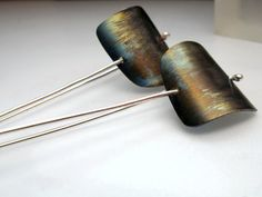 Titanium Earrings  Lightweight Long Dangle by QuercusSilver, £43.00