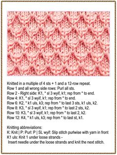 Free Knitting Stitch for a Slip Stitch Diamond. Free Knitting Stitch for a Slip Stitch Diamond. Slip Stitch Knitting, Lace Knitting Stitches, Lace Knitting Patterns, Knitting Charts, Loom Knitting, Knitting Needles, Free Knitting, Lace Patterns, Free Crochet