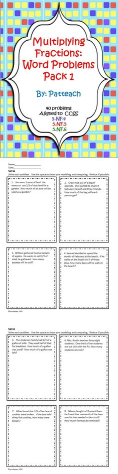 This pack features five front and back pages of eight problems each – 40 total - a whole week's worth of fraction word problems for Common Core Standards 5.NF.4, 5.NF.5, and 5.NF.6!  Check out www.NYHomeschool.com as well. 5th Grade Math Games, Sixth Grade Math, Fraction Word Problems, Math Word Problems, Teaching Career, Teaching Math, Math Resources, Math Activities, Math Cafe