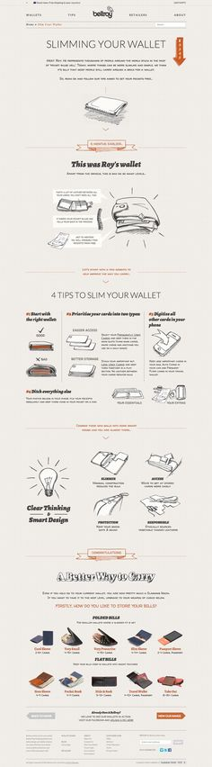 Slim Your Wallet w/Bellroy....such good marketing. They give you tips to slim your own wallet, then show you how they apply those principles into their own designs. So smart.