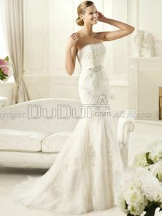 Mermaid/Trumpet Lace Tube Top Strapless Sweep Bowknot Beading Wedding Dresses, Wedding Gowns, Bridal Gown, Bridal Dresses   www.duduta.com