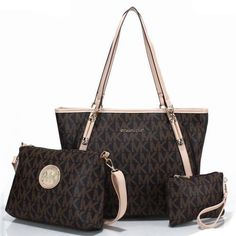 I LOVE this Michael Kors Charm Logo Large Coffee Totes and I'm not even a huge Coach type of girl #fashion