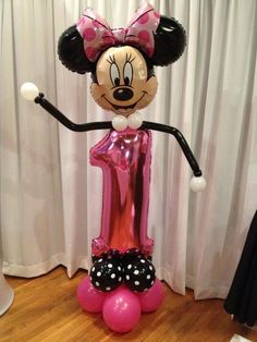 #1 Minnie Mouse First Birthday Centerpieces, First Birthday Balloons, Birthday Room Decorations, Balloon Decorations, 1st Birthday Parties, Birthday Ideas, Mickey Mouse Parties, Minnie Mouse Cake, Mickey Party