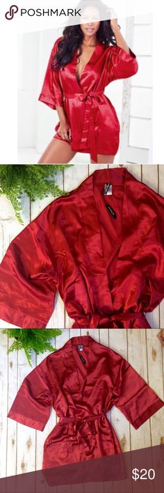 Adore Me Red Satin Robe Deep, dark, red ruby colored robe. Has a satin feel but is 100% polyester. It is sized small, but oversized, so it can fit much larger. Features a tie inside the robe and on the outside it has kimono sleeves. Adore Me Intimates & Sleepwear Robes