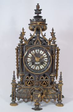 Clock Hourglass Time:  Antique 19th century French liberty Gothic cathedral clock.
