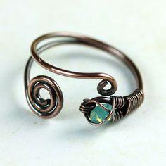 Opal Copper Ring - Trapped Gem in Wire-wrapped Copper | NANFAN JEWELLERY
